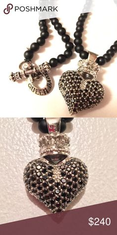 "Large 3D Pave Black CZ Heart necklace GORGEOUS Excellent Used Condition Queen Baby (by King Baby studios)    necklace.  18"" onyx beaded chain included.   .925 sterling silver!  This piece is a showstopper and was a staple in my collection for a couple of years. King Baby Jewelry Necklaces"