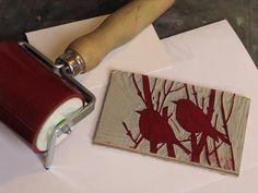 Ann Lewis - Artist/Printmaker More very pretty! Impression Textile, Linoleum Block Printing, Stamp Carving, Handmade Stamps, Linoprint, Stamp Printing, Tampons, Linocut Prints, Gravure