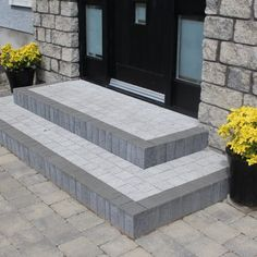 Step Risers are essential in home building and our Tobermore range provides decorative concert step paving. Front Porch Steps, Front Porch Design, Front Walkway, Front Door Entrance, Patio Steps, Brick Steps, Front Garden Ideas Driveway, Driveway Design, Block Paving Driveway