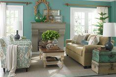 Aqua & beige living room -- Bassett Furniture