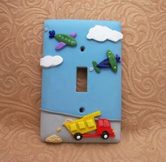 Jonas - Truck and Airplane Transportation Lightswitch Cover. $21.00, via Etsy.