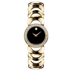 Movado Ladies' Rondiro Diamond Watch In Black & Gold - Beyond the Rack
