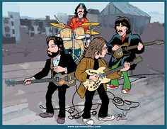 Archival Canvas Limited Edition Art Print Beatles Roof Top Performance By Anthony Parisi The Beatles 1, Beatles Photos, Beatles Poster, Ringo Starr, Great Bands, Cool Bands, Celebrity Caricatures, The Fab Four, Rock Music