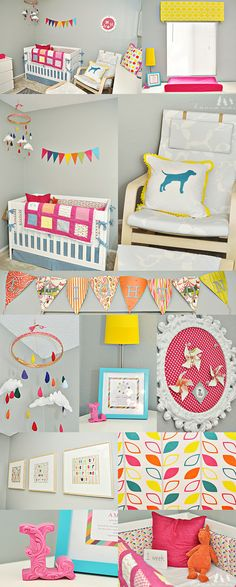 Inspiration for a girls room. Bright, cheerful and full of colour. The perfect way to ensure a happy baby.