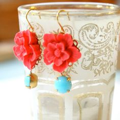 Red Flower Earrings NEW COLORS by NestPrettyThingsShop on Etsy, $24.00