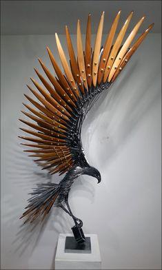Metal Art Sculpture, Abstract Sculpture, Art Sculptures, Metal Artwork, Metal Wall Art, Cutlery Art, Metal Art Projects, Psy Art, Metal Garden Art