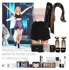 """""""Watching my bff (Taylor) perform at the first concert of the 1989 tour in Tokyo"""" by jaynnelinsstyles ❤ liked on Polyvore featuring Topshop, AllSaints, Prada, Mulberry, NARS Cosmetics, H&M, Isadora, philosophy, Trish McEvoy and ASOS"""
