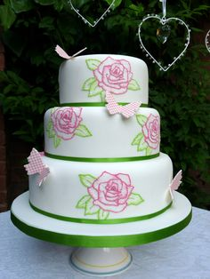 Wedding Cake With Hand Painted Roses Using Brushed Embroider Technique