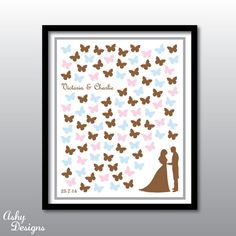 Wedding Guest Book Alternative Butterflies - 16x20 Custom Printable Poster - From 50 to 100 guests signature butterflies by AshyDesigns, $23.00