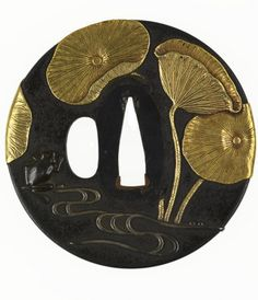 "artemisdreaming: "" . Tsuba with a Frog in a Lotus Pond, Japan, gold-copper alloy (shakudo), gold, silver, not dated, The Walters Art Museum Description from the Walters Art Museum: ""The primary motif of this tsuba is large lotus leaves in gold. The..."