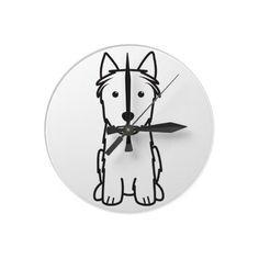 Silky Terrier Dog Cartoon Round Wallclock