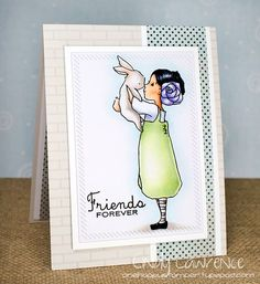 Girl-with-Bunny digi stamp, A Day for Daisies, card by Cindy Lawrence.