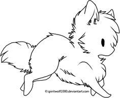 chibi female animal drawings | Chibi Wolf Lineart by spiritwolf1000