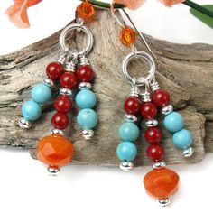 Bright Orange Red Turquoise Blue Dangle Earrings Southwest Chandelier  | PrettyGonzo - Jewelry on ArtFire