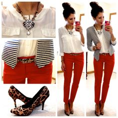 Great business casual outfit inspiration - loving the red pants. Mode Outfits, Office Outfits, Office Attire, Casual Office, Stylish Outfits, Fall Outfits, Business Outfits, Business Fashion, Business Attire