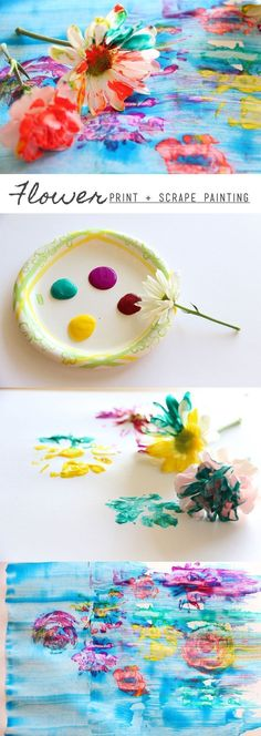 Kids love to make these flower paintings! Extend the fun even more by introducing kids to the work of Monet: give them a scraper to turn their art project into an Impressionist painting. #kidsart #naturecraft