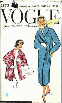 50s Vogue Pattern 9173 Shawl Collar Evening Coat by retromonkeys, $26.00