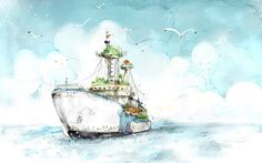 Watercolor Boat Paint Wallpapers.