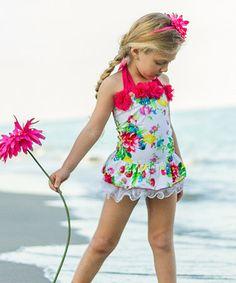 Look at this #zulilyfind! White Garden Skirted One-Piece - Infant, Toddler & Girls by Mia Belle Baby #zulilyfinds