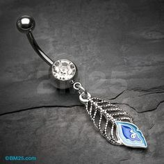 Royal Blue Peacock Feather Belly Button Ring