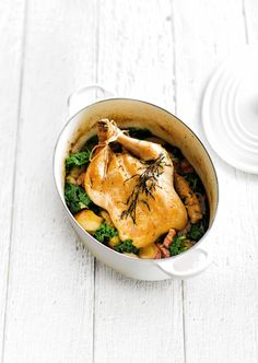 Chicken Baked with Shallots, Tarragon & Smoked Pork | In Season: Winter | MiNDFOOD