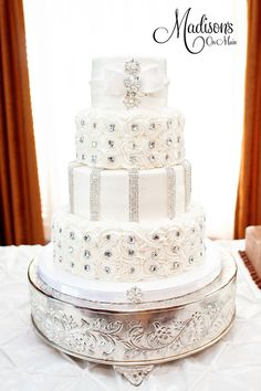 Buttercream and rhinestones wedding cake