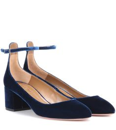 Aquazzura - Alix 50 velvet pumps - Aquazzura's Alix 50 pumps are crafted from beautiful navy velvet for an opulent take on the classic silhouette. The mid block heel comfortably elevates, while the slender ankle strap adds a delicate look for easy-to-wear elegance. Wear yours with a midi dress to show them off. seen @ www.mytheresa.com