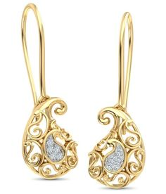 Caratlane Ethea Paisley 18 Kt Certified, Real Diamond Hanging Earrings, Diamond Earrings, Paisley, 18th, Gold Necklace, Fashion Jewelry, Collections, Stuff To Buy, Stylish Jewelry