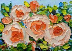 Orange Rose Original ACEO Garden Flower Floral Art Mini Tiny