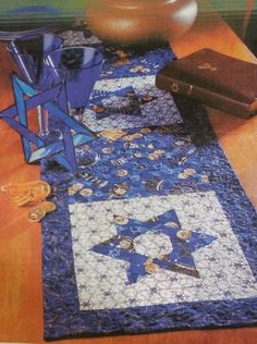 Hanukkah Table Runner Quilt Kit Sewing Project Jewish Star Menorah Centerpiece