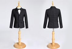 H1034 Children Gray Plaid Formal Blazer Prom Wedding Boys Suits 3pcs Leisure Black Jacket Set High Quality Kids Clothes 2 Colors by HHCbridal on Etsy
