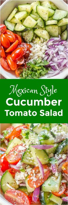 this Cucumber Tomato Salad ahead of time and let the cucumbers, tomatoes, and onions marinate in the vinaigrette until you are ready to serve. Vinaigrette, Cucumber Tomato Salad, Cucumber Juice, Cucumber Beetles, Savory Salads, Cooking Recipes, Healthy Recipes, Yummy Recipes, Healthy Foods