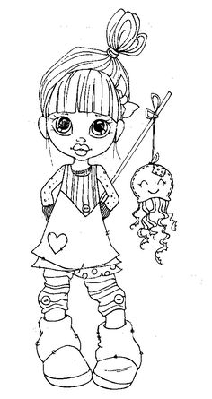 Saturated Canary Girl with Doll on a Stick Coloring Page Colouring Pics, Coloring Book Pages, Coloring Pages For Kids, Illustrations Vintage, Copics, Digital Stamps, Printable Coloring, Big Eyes, Magnolias