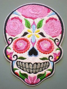 Very Large Sugar Skull, Day of the Dead, Embroidered Iron On Patch, Applique, Mexican