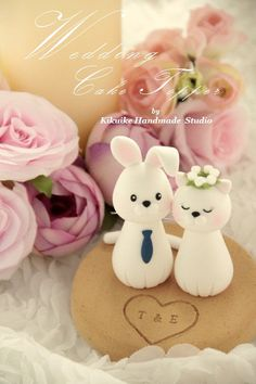 cat and rabbit  bride and groom wedding cake topperk859 by kikuike
