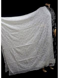 ISHIEQA's White Kota Doria Chikankari Dupatta - SC0115D White Chiffon, White Cotton, Off White, White Gold, Black B, White Fabrics, Pure Products, Purple