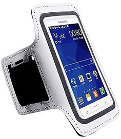 """myLife Natural White and Slate Gray {Rain Resistant Velcro Secure Running Armband} Dual-Fit with Key Slot Jogging Arm Strap Holder for Samsung Galaxy S5 """"All Ports Accessible"""" myLife Brand Products http://www.amazon.com/dp/B00SLV6KE0/ref=cm_sw_r_pi_dp_FtG-ub0KZST2B"""