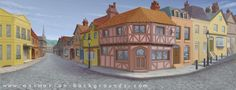 Stage Scenery Painting: Old Town Panoramic backdrop