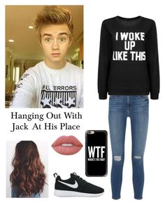 """""""Hanging with Jack at his place"""" by be-robinson ❤ liked on Polyvore featuring Frame Denim, Lime Crime, NIKE and Casetify"""