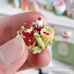Cherry French Pastries Display - Polymer Clay Miniature Food