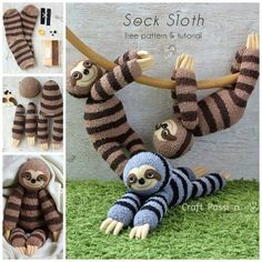 How to make a SOCK SLOTH....Adorable!! Directions --> http://www.craftpassion.com/2017/03/how-to-sew-sock-sloth.html #sockscute
