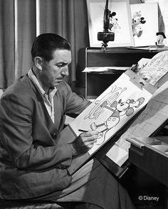 Walt at the drawing board, circa 1947 | 23 Incredible, Rarely-Seen Photos From The Disney Archives