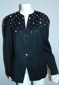 vintage 1980s charcoal gray wool blazer Mondi ESCADA studded jacket S – Retro Trend Vintage