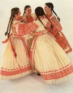 Overview of Croatian costume with red embroidery; Western Pannonian Croatia