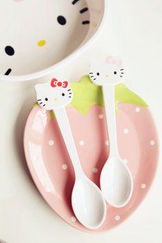 Hello kitty kt cat head melamine plastic spoon cartoon tableware infant baby spoon-in Dinnerware Sets from Home & Garden on Aliexpress.com