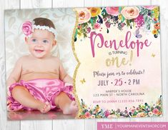 Whimsical Butterfly First Birthday by YourMainEventPrints on Etsy 1st Birthday Girls, First Birthday Parties, Birthday Party Themes, First Birthdays, 1st Birthday Invitation Template, Unicorn Birthday Invitations, Party Invitations, Glitter Girl, Sparkles Glitter