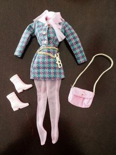 54d5c850fd Barbie International Fashion Avenue 18106 Plaid Suit purse shoes Belt w logo