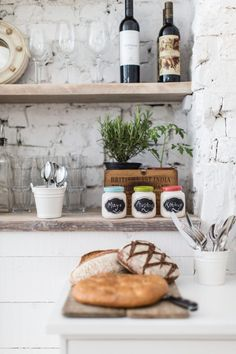 Hally's Parsons Green, open storage wood shelves against painted white brick walls design and decoration Kitchen Dining, Kitchen Decor, Rustic Kitchen, Kitchen Styling, Country Kitchen, Bistro Kitchen, Stone Kitchen, Eclectic Kitchen, Kitchen Corner