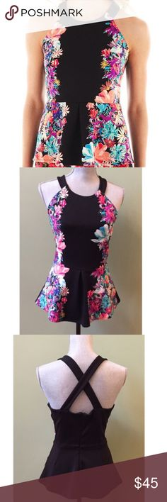 🇺🇸SALE🇺🇸Floral Peplum Top by Nicole Miller Worn once. Made well. Zipper closure in the back, functional. Nicole by Nicole Miller Tops