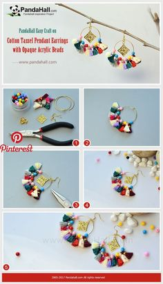 How to Make Cotton Tassel Pendant Earrings with Opaque Acrylic Beads Thread opaque acrylic beads and cotton tassel pe… | PandaHall Inspiration Project